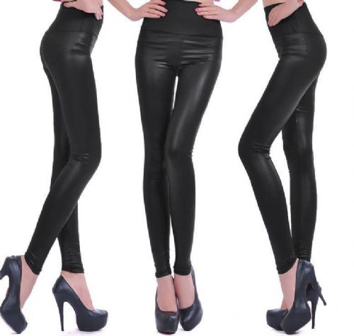 New Sexy Women Ladies High Waist Wet Look Faux Leather Leggings S/M/L/XL/XXL